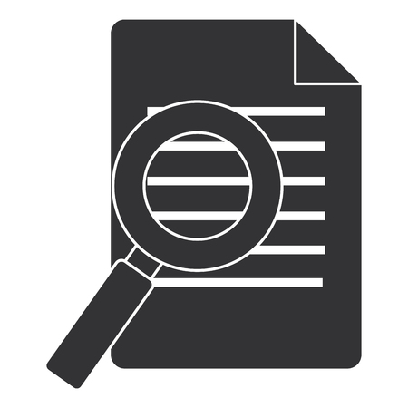 document paper with magnifying glass vector illustration design
