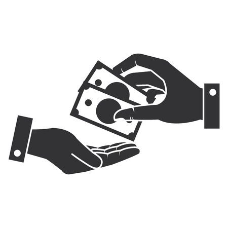 hands human with bills money isolated icon vector illustration design