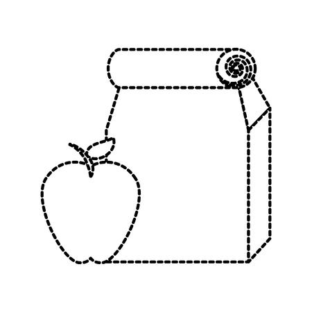 paper lunch bag takeaway school element vector illustration