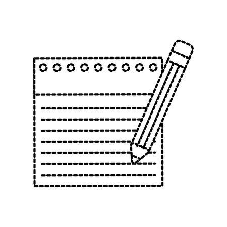 back to school notebook paper lined and pencil writing vector illustration