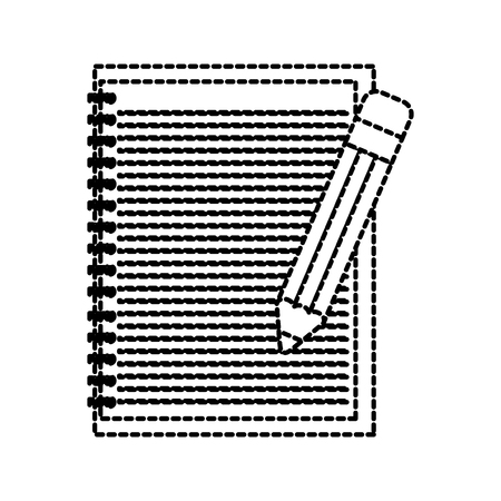 school lined notebook and pencil write education vector illustration
