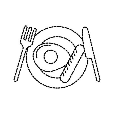 menu restaurant gebakken ei met worst vork en mes vectorillustratie Stock Illustratie