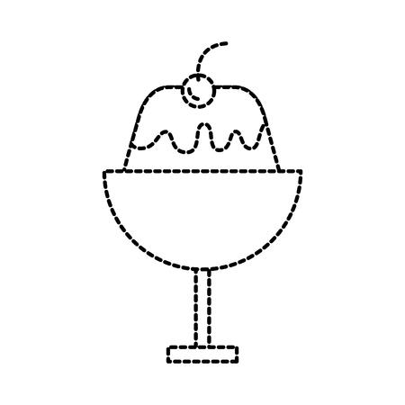 dessert cold jelly in glass cream fruit sweet tasty vector illustration