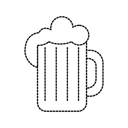 glass of beer foam cold fresh drink beverage restaurant bar vector illustration Illustration