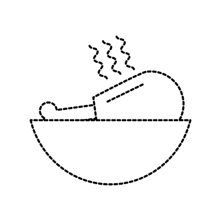 저녁 메뉴 벡터 일러스트 레이 션에 대 한 접시에 구운 된 닭