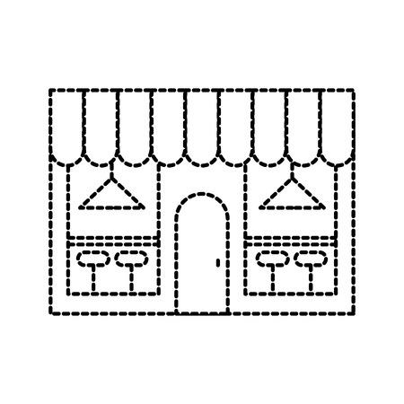 カフェ ショップ外観通りレストラン椅子とランプのベクトル図と建物