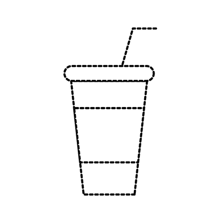 paper cup soda straw cola drink fresh cold vector illustration Illustration
