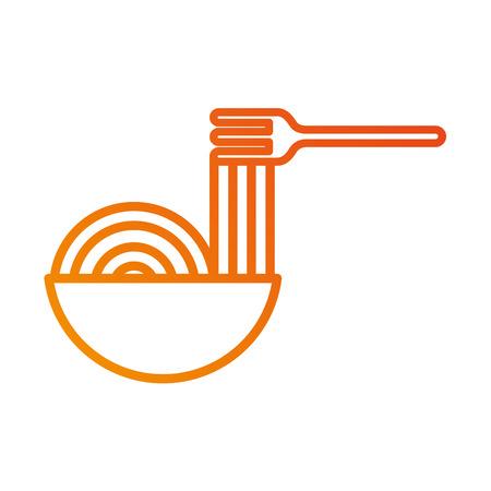 Restaurant-Schüssel mit Spaghetti-Gabel-Essen-Vektor-illustration Standard-Bild - 87674108
