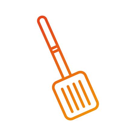 kitchen frying spatula utensil handle vector illustration