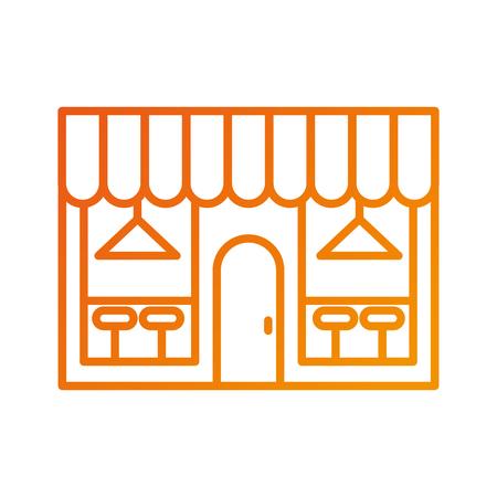 buitenkant van de winkel van de coffeeshop hoofdsteun die met stoel en lampen vectorillustratie bouwen Stock Illustratie