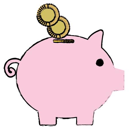 동전 벡터 일러스트 디자인 돼지 저축