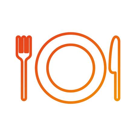 フォークとナイフのベクトル図とレストラン キッチン プレート