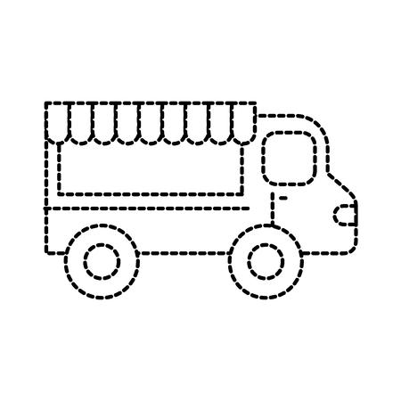 restaurant eten vrachtwagen trasnport dienst vectorillustratie