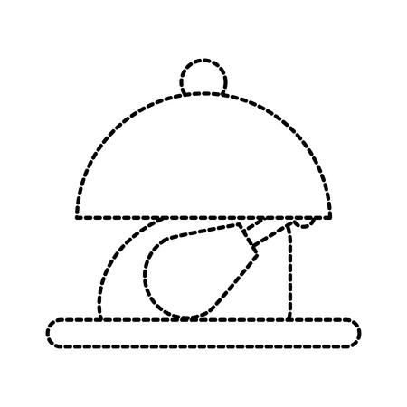 ディナー メニューのベクトル図のプレートのロースト チキン