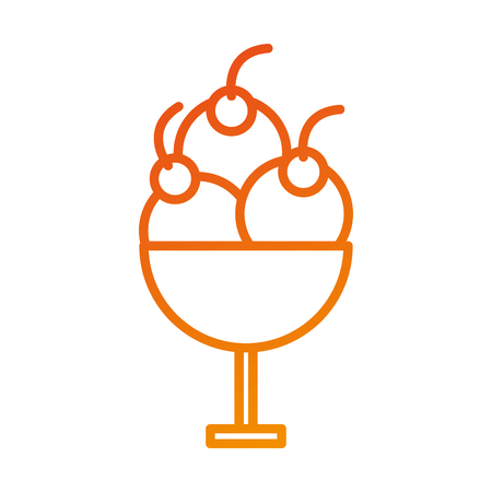 ice cream in a glass fruit dessert sweet vector illustration Illustration