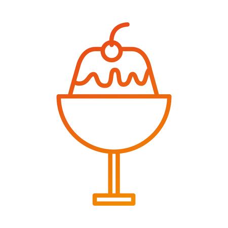 디저트 감기 젤리에 유리 크림 과일 달콤한 맛있는 벡터 일러스트 레이션