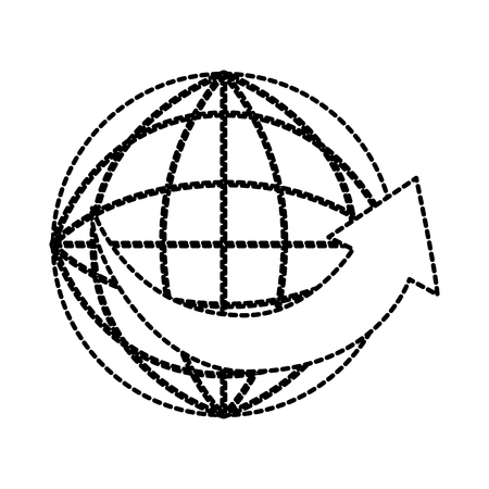 freight transportation around the world cardboard box with arrow vector illustration