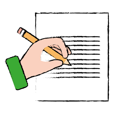 document paper with hand writing vector illustration design