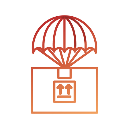parachute with box carton packing icon vector illustration