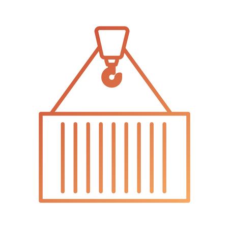 クレーン フックを持ち上げる貨物ベクトル図の金属コンテナー輸送  イラスト・ベクター素材