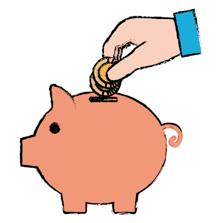 piggy savings with saver hand vector illustration design