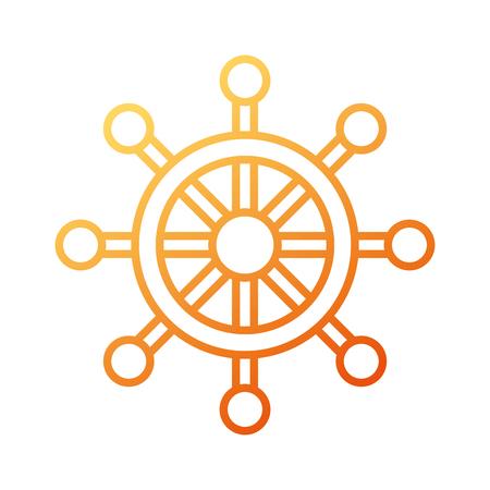 boot stuurwiel nautische avontuurlijke reizen pictogram op witte achtergrond vectorillustratie Stock Illustratie