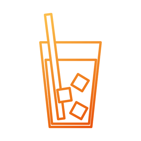 drink in glass with ice straw beverage cold vector illustration