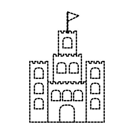 sand castle flag cartoon beach game recreation vector illustration