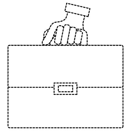 손으로 인간의 포트폴리오 서류 가방 격리 된 아이콘 벡터 일러스트 레이 션 디자인