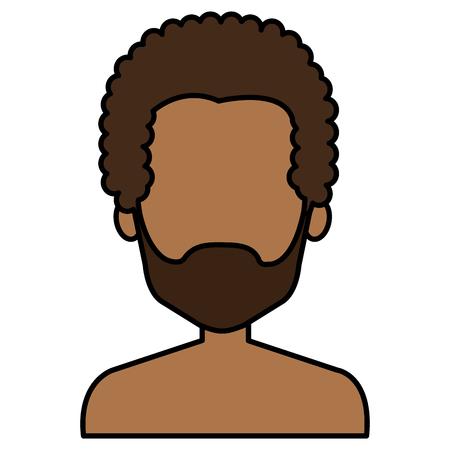 young black man shirtless avatar character vector illustration design