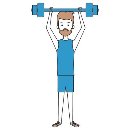 man lifting weights character vector illustration design