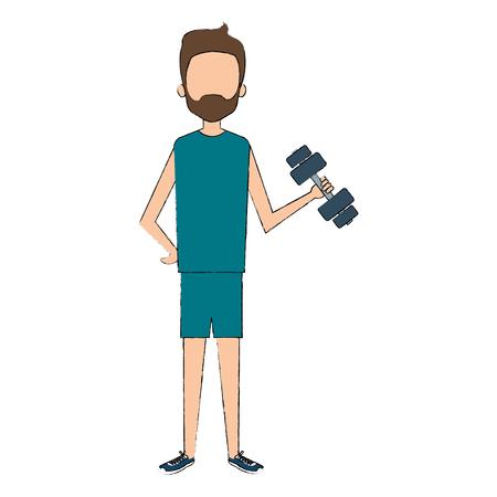 man tillen gewichten karakter vector illustratie ontwerp Stock Illustratie