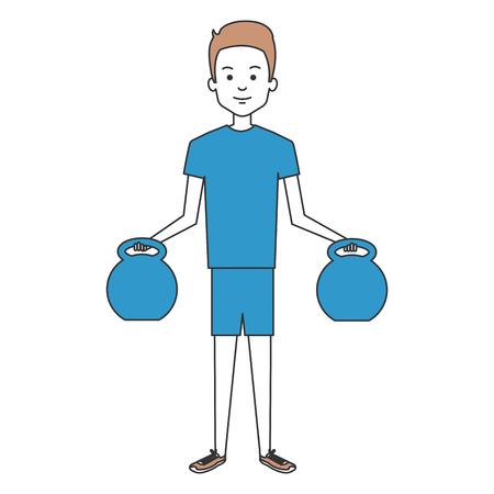Man soulever poids personnage illustration vectorielle conception Banque d'images - 87678966
