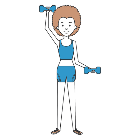 woman black lifting weights character vector illustration design