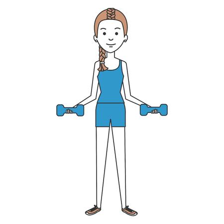 woman lifting weights character vector illustration design Reklamní fotografie - 87679689