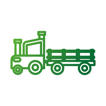 farm tractor trailer agriculture transport vector illustration