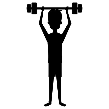 man silhouette lifting weights character vector illustration design Ilustrace