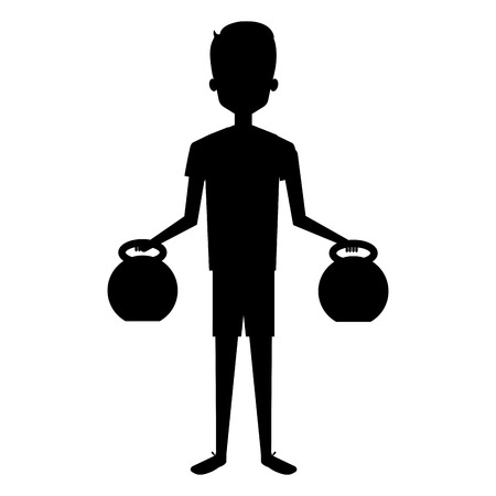 man silhouette lifting weights character vector illustration design Ilustração