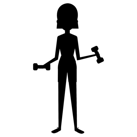 woman silhouette lifting weights character vector illustration design Illustration