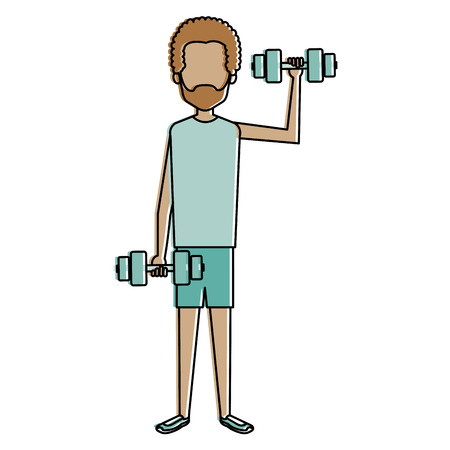 man lifting weights character vector illustration design
