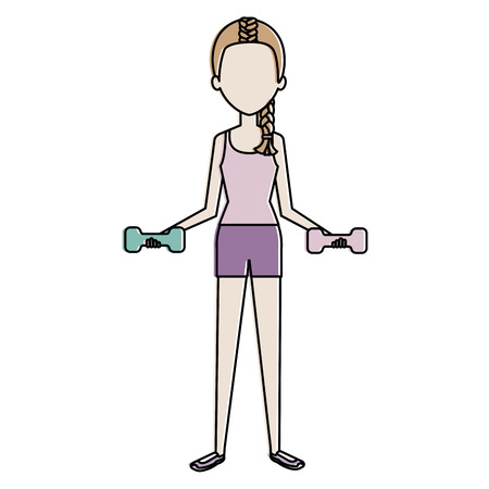woman lifting weights character vector illustration design