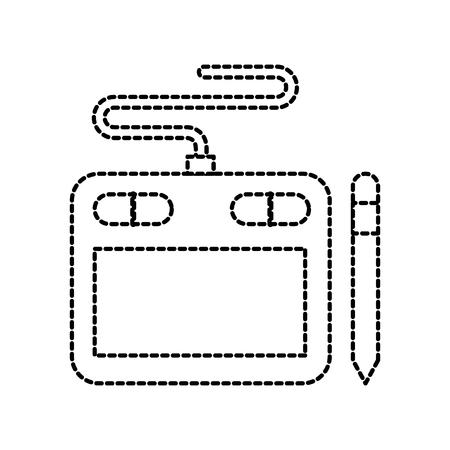 designer tablet pen digital tool graphic vector illustration