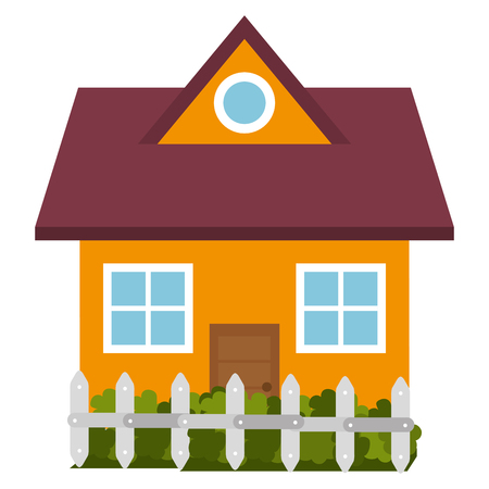 ortseingangsschild: beautiful house building with fence vector illustration design