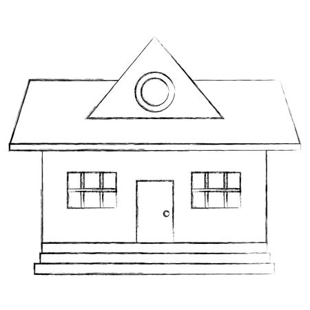 美しい家の建物孤立したアイコンベクトルイラストデザイン  イラスト・ベクター素材