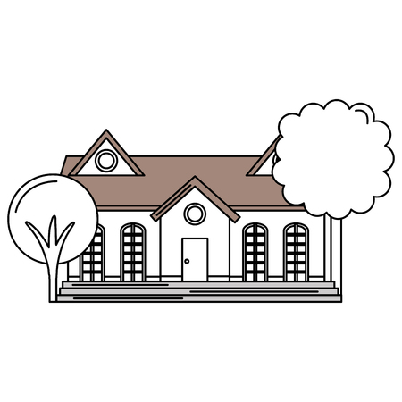 beautiful house building with trees vector illustration design Illustration