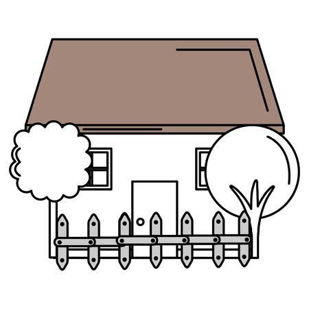 木やフェンスベクトルイラストデザインと美しい家の建物  イラスト・ベクター素材