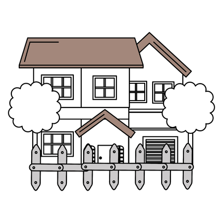 beautiful house building with trees and fence vector illustration design