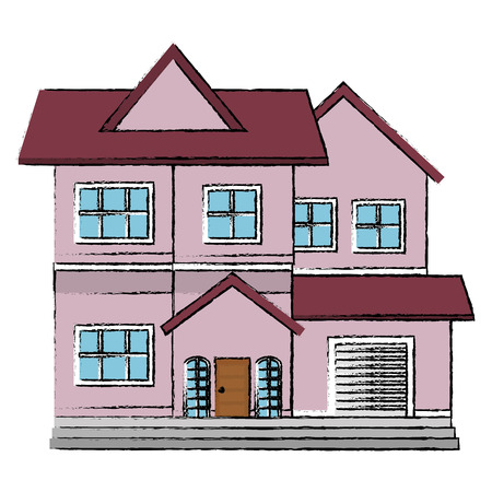 ortseingangsschild: beautiful house building isolated icon vector illustration design