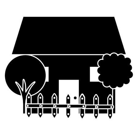 建物の木とフェンス ベクトル イラスト デザインの美しい家