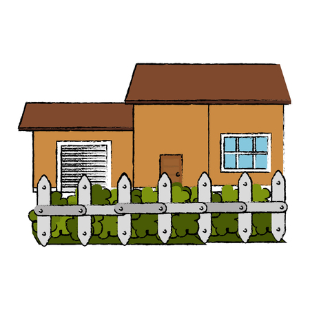 beautiful house building with fence vector illustration design